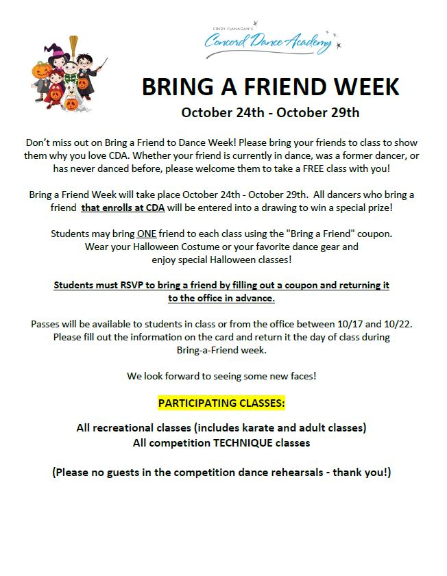 Bring a Friend to Dance Week - October 24-29